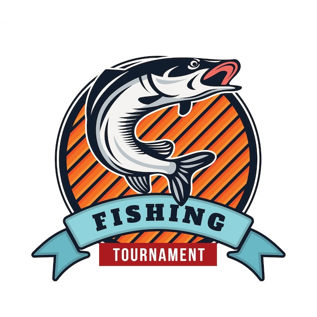 Ilustración de insignia de logotipo de pesca de verano moderno vector gratuito