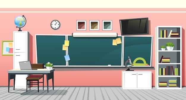 Ilustración del interior de la sala de clase de la escuela vacía con pizarra verde en la pared rosa. antecedentes educacionales Vector Premium