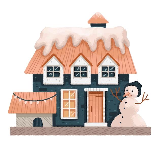 Ilustración de invierno de navidad de una casa con una caseta de perro chimenea y muñeco de nieve decorado para navidad Vector Premium