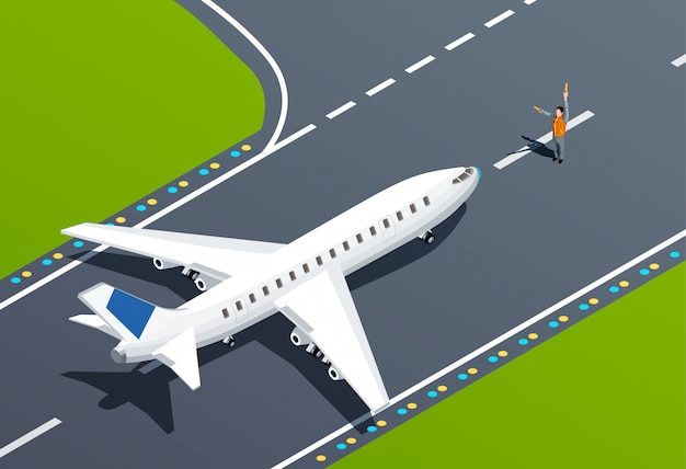 Ilustración isométrica del aeropuerto vector gratuito