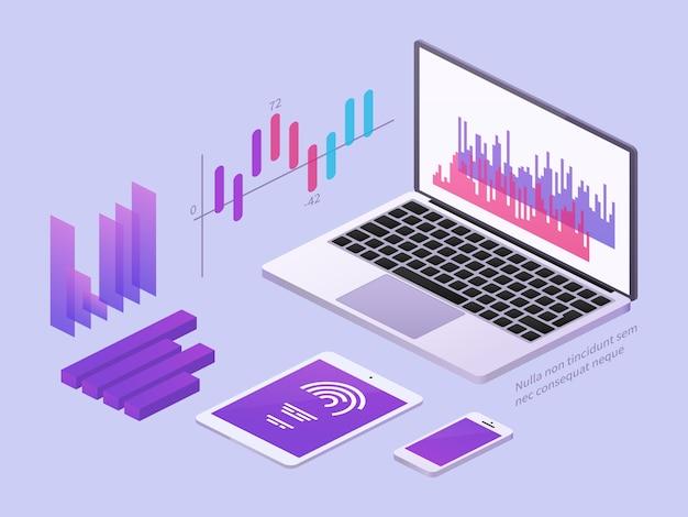 Ilustración isométrica de la aplicación empresarial Vector Premium