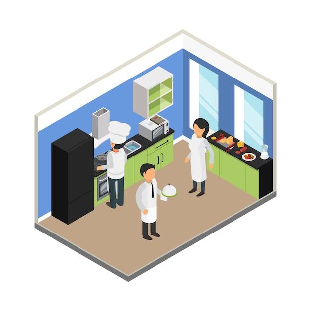 Ilustración isométrica de la cocina del restaurante Vector Premium