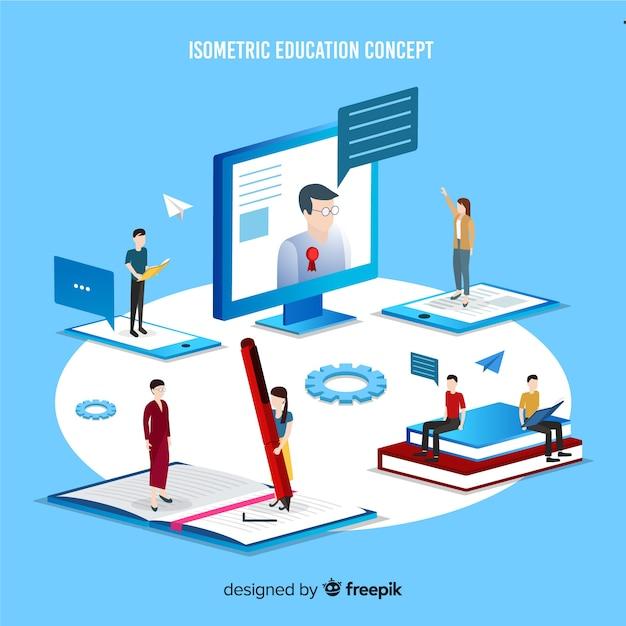 Ilustración isométrica concepto educación vector gratuito