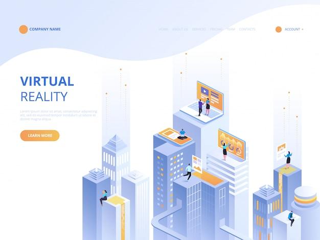 Ilustración isométrica del concepto de realidad virtual Vector Premium
