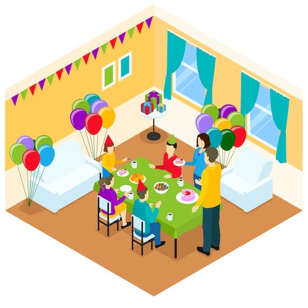 Ilustración isométrica de cumpleaños vector gratuito