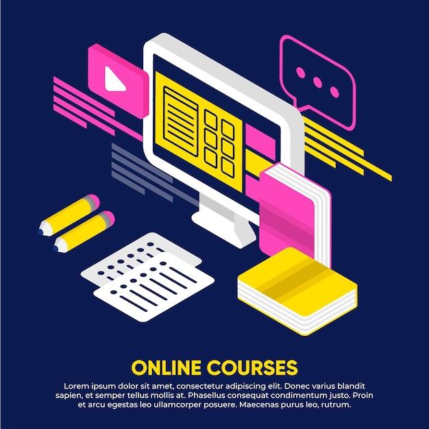Ilustración isométrica de cursos en línea vector gratuito