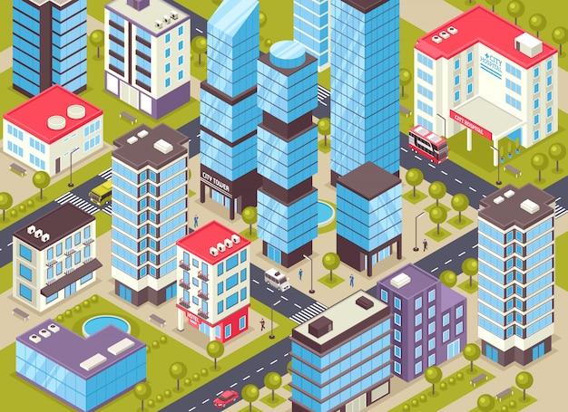 Ilustración isométrica de edificios de la ciudad vector gratuito