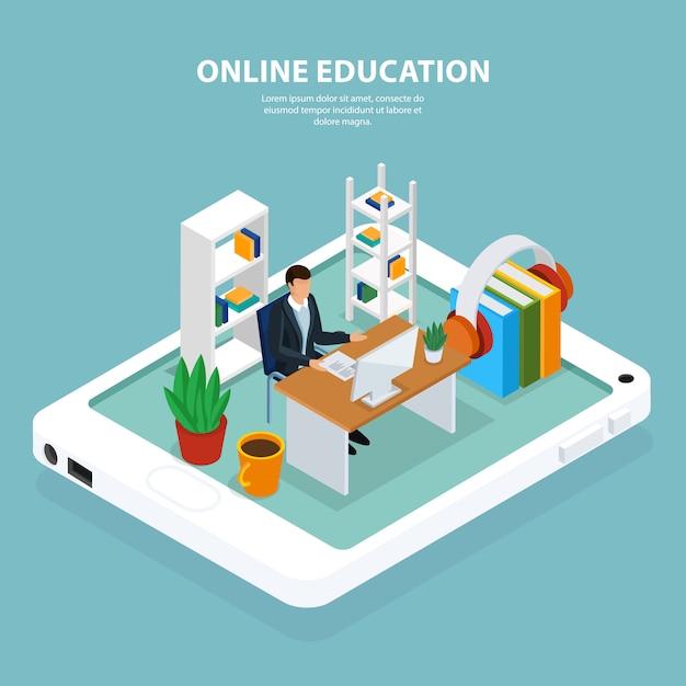 Ilustración isométrica de educación en línea vector gratuito