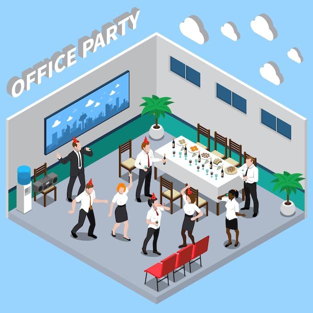 Ilustración isométrica de fiesta de oficina vector gratuito