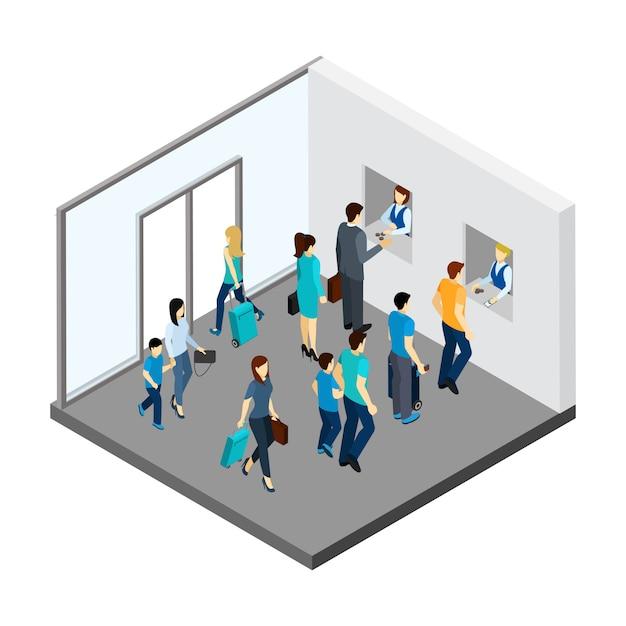 Ilustración isométrica de la gente subterránea vector gratuito