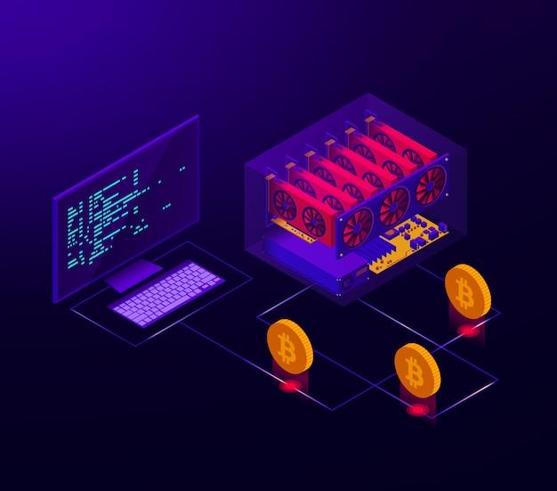 Ilustración isométrica de una granja de criptomonedas en funcionamiento para bitcoin. Vector Premium