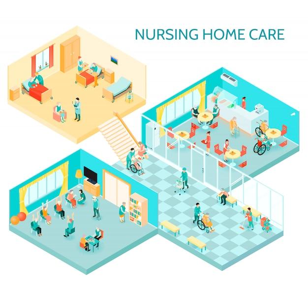 Ilustración isométrica de hogar de ancianos vector gratuito