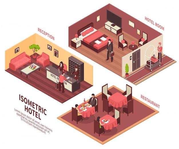 Ilustración isométrica del hotel vector gratuito