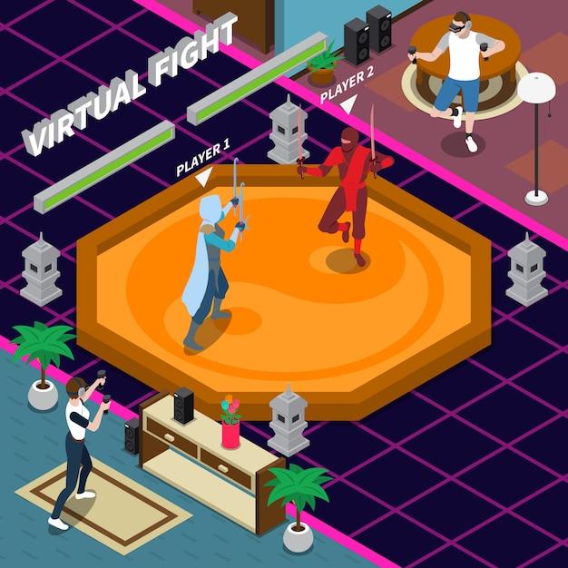 Ilustración isométrica de lucha virtual vector gratuito