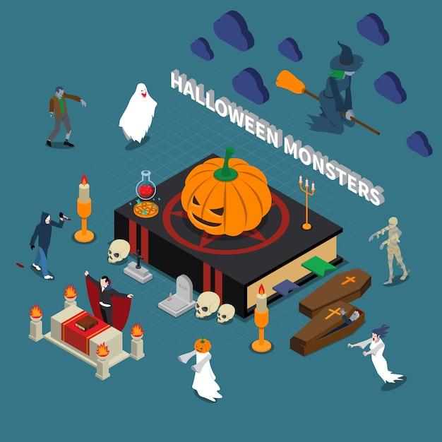 Ilustración isométrica de monstruos de halloween vector gratuito