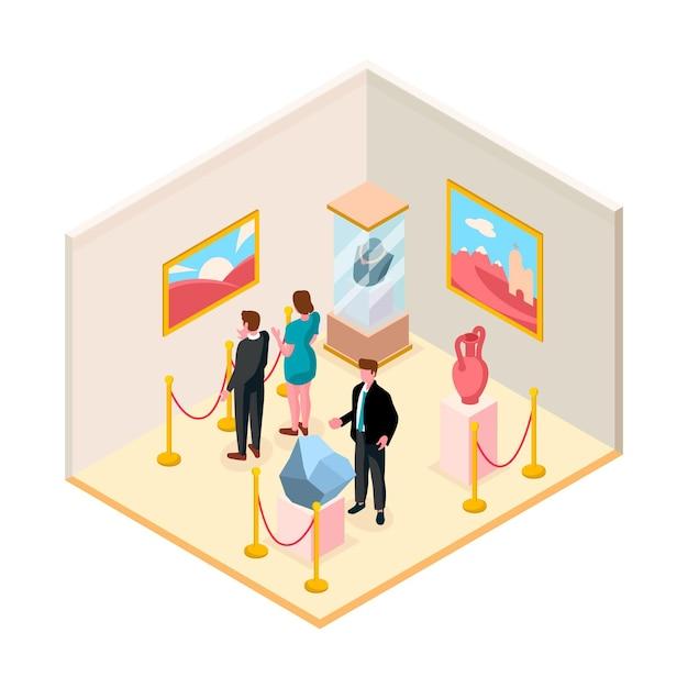 Ilustración isométrica del museo con exposición vector gratuito