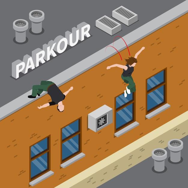 Ilustración isométrica de parkour vector gratuito