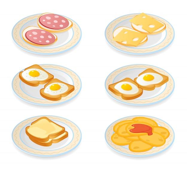 Ilustración isométrica plana de placas con diferentes comidas de la mañana. Vector Premium
