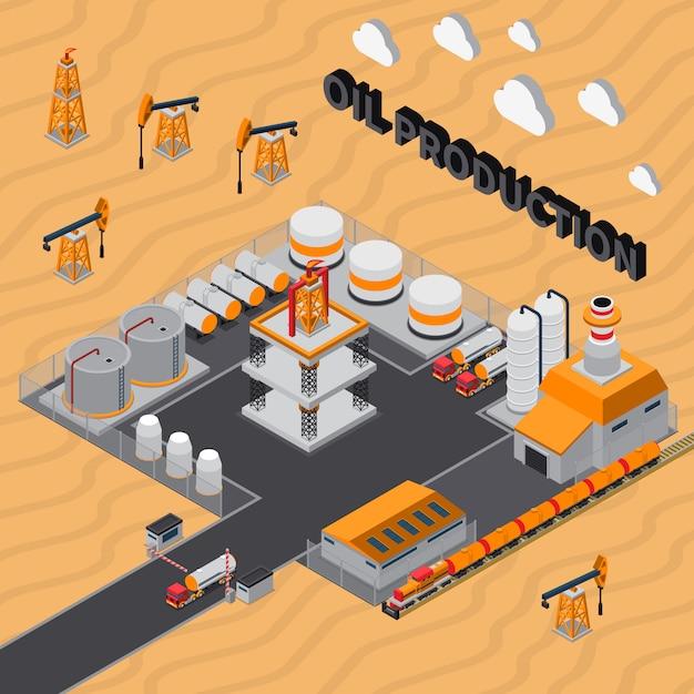 Ilustración isométrica de producción de petróleo vector gratuito