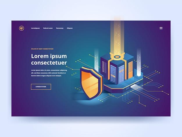 Ilustración isométrica de protección digital. Vector Premium