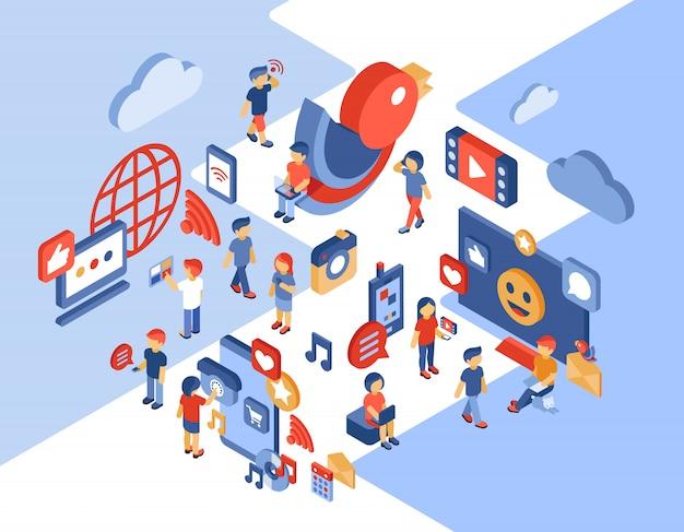Ilustración isométrica de redes sociales y comunicación Vector Premium