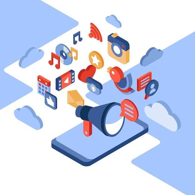 Ilustración isométrica de redes sociales y teléfonos móviles Vector Premium