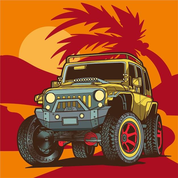 Ilustración de jeep de carretera Vector Premium