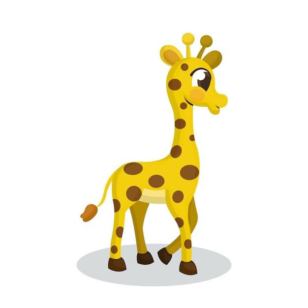 Ilustración de jirafa con estilo de dibujos animados Vector Premium
