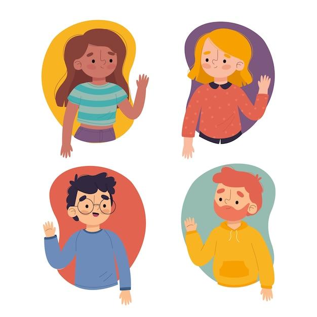 Ilustración de jóvenes agitando colección de mano vector gratuito