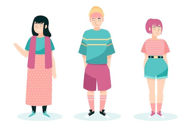 Ilustración de jóvenes coreanos de moda vector gratuito
