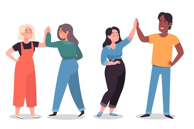 Ilustración con jóvenes dando cinco vector gratuito