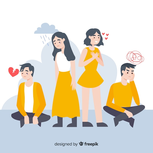 Ilustración de jóvenes con diferentes emociones. vector gratuito