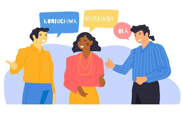 Ilustración de jóvenes hablando en diferentes idiomas vector gratuito