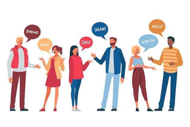Ilustración con jóvenes hablando vector gratuito
