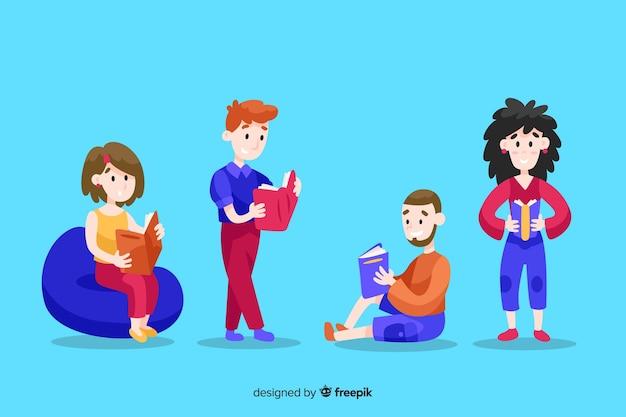 Ilustración de jóvenes que pasan tiempo leyendo juntos vector gratuito