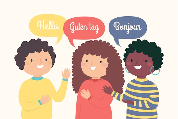 Ilustración de jóvenes saludando en diferentes idiomas vector gratuito