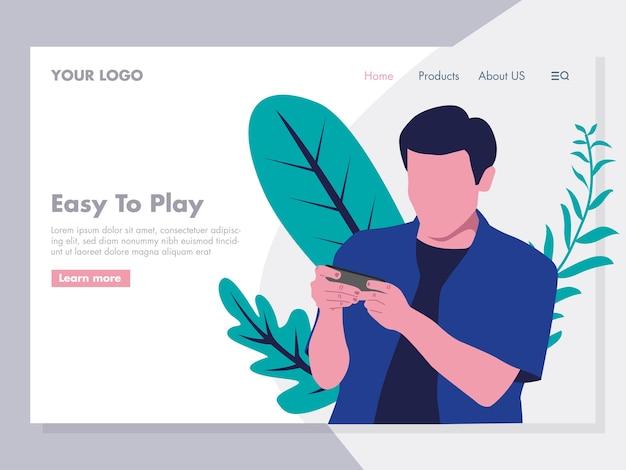 Ilustracion De Juegos En Linea Para La Pagina De Inicio Descargar