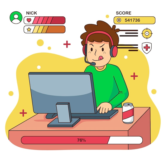 Ilustración de juegos en línea vector gratuito