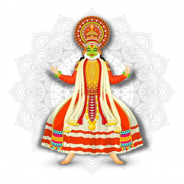 Ilustración de kathakali dancer sobre fondo blanco mandala. Vector Premium