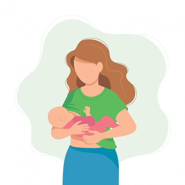 Ilustración de la lactancia materna, madre alimentando a un bebé con mama. Vector Premium