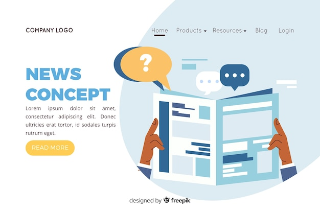 Ilustración para landing page con concepto de noticias. vector gratuito