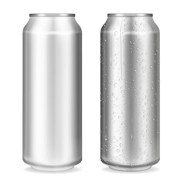 Ilustración de latas de metal de contenedores realistas en 3d para refrescos o bebidas energéticas, limonada o cerveza. vector gratuito