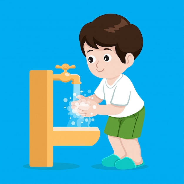 Ilustración de lavado de manos Vector Premium