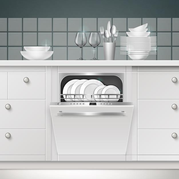 Ilustración de lavavajillas empotrado con puerta abierta y utensilios limpios en una cocina vector gratuito