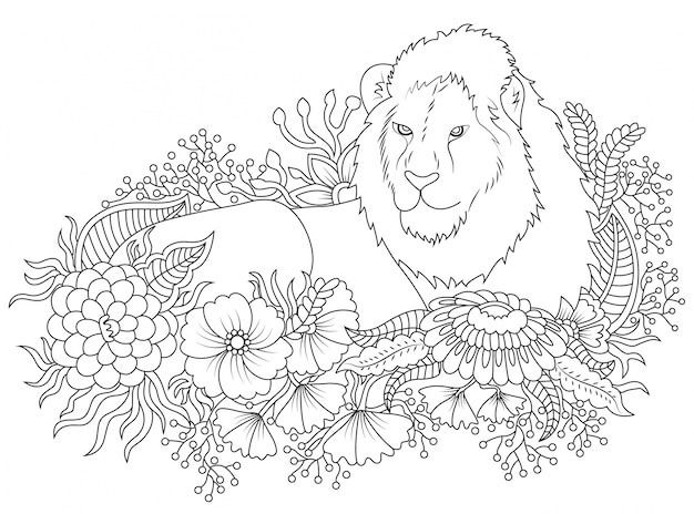 Ilustración de león y flores para colorear | Descargar Vectores gratis