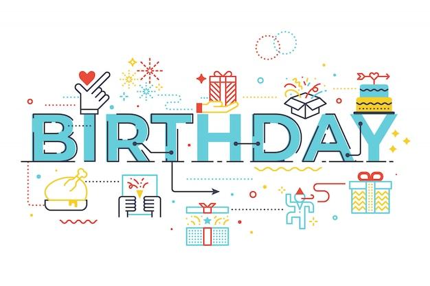 Ilustración de letras de palabra de cumpleaños Vector Premium