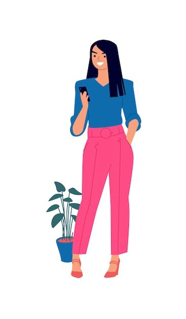 Ilustración de una linda chica en una blusa azul y pantalones de color rosa. Vector Premium