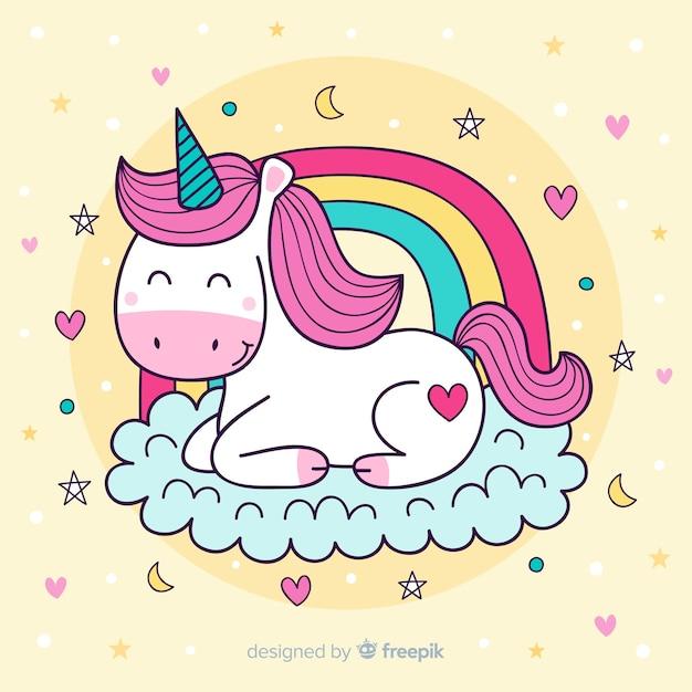 Ilustración linda con colorido unicornio vector gratuito