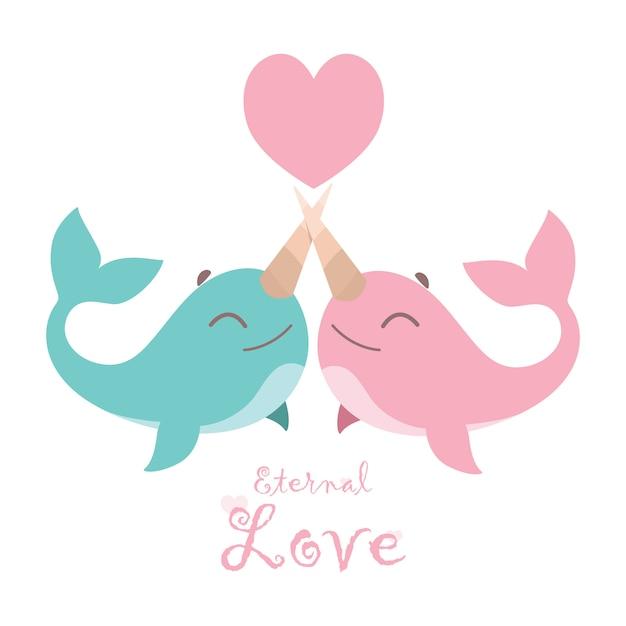 Ilustración de una linda pareja de narvales enamorada Vector Premium