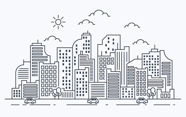 Ilustración de línea de la ciudad con coche Vector Premium